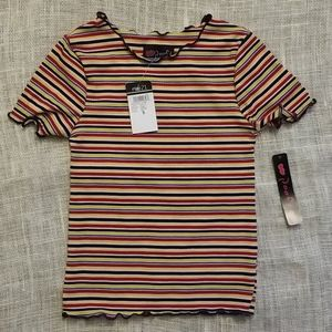 Rue21 Striped, Ribbed, 70 Scalloped Black/Red/Blue